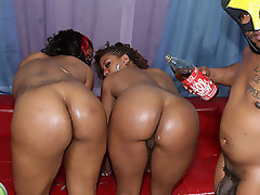 Two ebony princesses with massive butts getting proper ghetto fucking