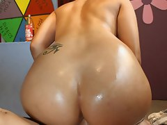 Luscious babe bends her hot brown ass over for hard cock meat