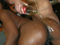 Big Booty black girl Delotta strips and fucks at a party