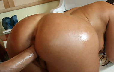 Busty Latina Britney gets a 40 poured on her big ass